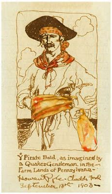 head wrap under hat  Drawing of Pirate by Howard Pyle    Do we want antonio armed w a pistol?