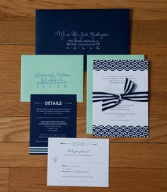 Navy + mint invitation suite; love the color balance and the patterns!