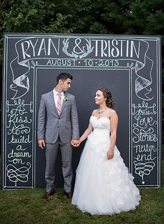 """Top 10 Wedding Backdrop Ideas -  Chalk It Up:  For a classy black and white backdrop you can personalize however you want, try using a giant chalkboard! Grab some 4"""" x 8"""" plywood or Masonite (you'll want the surface to be smooth), and paint over it with our Shabby Chic Chalk Style Paint. If you want a pop of color at your altar, use red or teal. For a subtle look, use a pastel base and draw your design in a darker color. Photo from Wedding Chicks // Aimee McAuley Photography."""