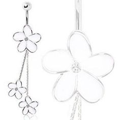 White Daisies Chained Navel Ring Belly Ring