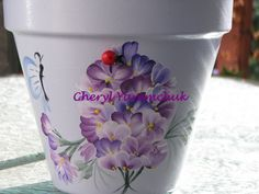 Lilacs with Friend Quote - handpainted flower pot