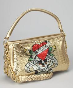 51f2bdb41c21 Ed Hardy Gold Agnes Shoulder Bag