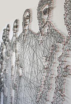 Pamela Campagna e Thomas Scheiderbauer fios e unhas retratos. / Pamela Campagna and Thomas Scheiderbauer thread and nail portraits. Street Art, Instalation Art, 3d Art, Illustration Art, Illustrations, Thread Art, Motif Floral, Wire Art, Art Design