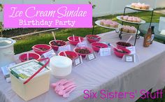 An easy birthday party idea: Ice Cream Sundae party! SixSistersStuff.com #birthday #party #icecream #pinata