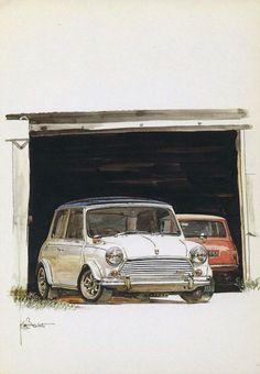 MINI Mini Cooper S, Mini Cooper Classic, Classic Mini, Mini Cooper Wallpaper, Minis, Mini Morris, Car Prints, Mini Countryman, Garage Art