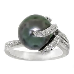 Tahitian South Sea Cultural Pearl & Diamond Ring $1,800 wow.  Tahitian pearls have been known for their fertility luck.