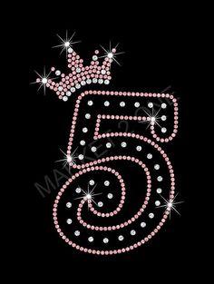 5th Birthday Rhinestone BLING TShirt   Black / Pink by Market2One, $24.99