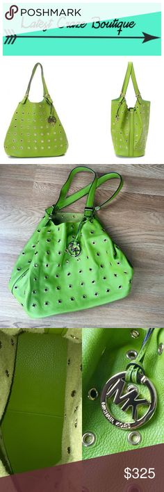 MICHAEL KORS Colgate Grommet Leather Tote Bag Lime pebbled leather with all over golden grommet detail and hardware, leather shoulder straps, open top, hanging MK logo, inside leather base on the bottom, 13in(L) 12in(H) 6in(W) NWOT! MICHAEL Michael Kors Bags Shoulder Bags