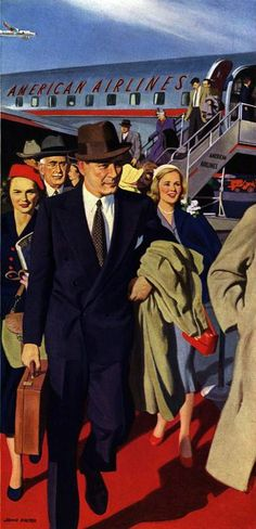 American Airlines ad detail c. 1940s