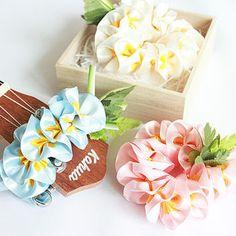 Ribbon lei for ukulele (3pieces) / plumeria set / ukulele gift / ukulele accessories /
