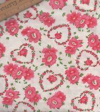 "AUTHENTIC VINTAGE COTTON FEEDSACK FABRIC Rosebud Hearts & Flowers 36""W x 22""L"