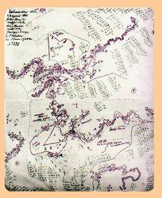 """Sven Hedin : """"Originalritning av Hedin"""", med exakta mätningar för framtida kartor."""