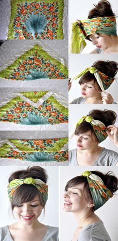Comb your hair back to a messy bun or any up-do you'd like 2) Take a large square scarf & fold one corner to the other forming a triangle 3) Fold the tip of the triangle down to about the middle & then fold over again (Do not fold all the way to the edge) 4) Put the scarf around your head with the ends in the front (Make sure the folded side is against your head so it's not showing) 5) Ti...