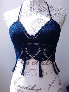 dark blue, crochet top, handmade crochet, festival crochet top, halter top, crop top, boho crochet, alternative wear, summer crochet lace by AfagoMeu on Etsy