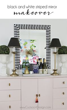 - Mirror Designs - Black and white striped mirror makeover black and white striped striped washitape mirror makeover Affordable Home Decor, Decor, Mirror Makeover, White Decor, House Interior, Black And White Decor, Affordable Decor, Home Decor, Home Decor Accessories