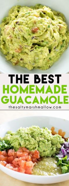 The Best Guacamole Recipe! This classic guacamole has a secret ingredient that makes it the absolute best! An easy recipe for guacamole and how to make it! #guacamole #thesaltymarshmallow #easyguacamolerecipe #diprecipes