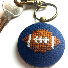 Hand Stitched Football Key Chain [with gift tin]