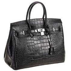 This spacious bag in crocodile leather has been designed to provide a smart and attractive look to a work bag, which is generally large and bulky for the space required. The crocodile leather along with the metal trimmings give the bag a classic look. Louis Vuitton Hat, Louis Vuitton Sunglasses, Hermes Handbags, Designer Handbags, Hermes Birkin, Crocs, Purses, Leather, Crocodile