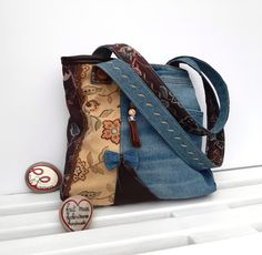 Denim And Co, Denim Bag, Unique Bags, Louis Vuitton Monogram, Upcycle, Recycling, Upholstery, Etsy, Jeans
