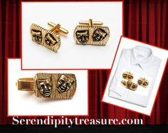 serendipitytreasure.com  #etsy shop: Comedy and Tragedy Cuff links and Tie Clip - gold repouss - Cufflinks and tie clasp. https://etsy.me/2GQGt2k #accessories #cufflinks #gold #unisexadults #tieclip #serendipitytreasure #vintagecufflinks #happysadface
