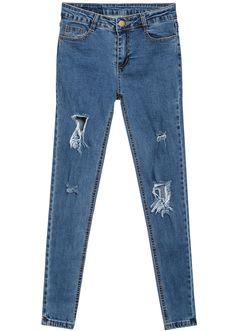 Hose aus Denim mit zerrissenem Design, blau 12.93