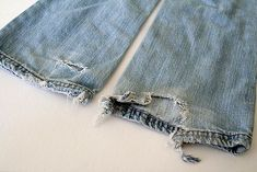 Re-Purpose Little Girl Jeans. What do you do with them when they get all frayed? You don't want to throw them out....so why not add a little more life to them by re-purposing!