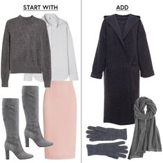 - Layer a cashmere sweater over a button up, pencil skirt and boots then add a robe coat and tonal extras for the commute.