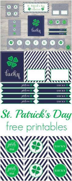 Navy and green St. Patrick's Day free printables by Paige Simple Studio www.weheartparties.com
