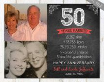 50th anniversary gift for wife husband or best friends - 55th anniversary parents gift - chalkboard sign photo collage - DIGITAL FILE!