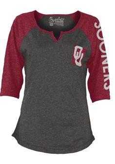 Oklahoma Sooners T-Shirt - Grey/Cardinal Sooners Deja Fashion Long Sleeve Tee