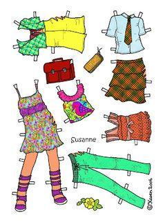 Karen`s Paper Dolls: Susanne 1-6 Paper Doll in Colours.Susanne 1-6 påklædningsdukke i farver.