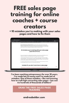 """You can't sell your signature courses, program, and digital product without having a high converting sales page. Your sales copy is the one place where you must convince your future students that buying your course or program is the right choice for them. Your sales page is the place where future students make a buying decision — they decide right then and there """"am I going to invest in this or wait for something better to come along."""" Click here to FIX YOUR SALES PAGES NOW! Top Blogs, Online Coaching, How To Start A Blog, How To Make, Blogger Tips, Fix You, Mistakes, Entrepreneur, The Creator"""