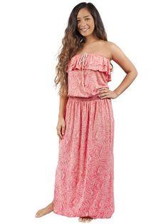 Healani Soft Coral  Strapless maxi dress