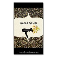 Salon Spa Leopard Print Business Card Template. This great business card design is available for customization. All text style, colors, sizes can be modified to fit your needs. Just click the image to learn more!