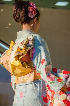 Colorful kimonos on display at the Nishijin Textile Center, a textile museum in Kyoto, Japan.