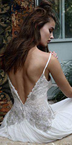 lihi hod bridal 2016 romantic tuscany wedding dress sleeveless embellished lace bodice spaghetti straps back view