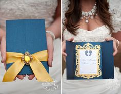 navy and yellow wedding invitation