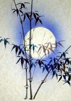 Moonlight bamboo - by Jane Dwight, England. To paint the moon, a dish covered an area of the xuan paper to prevent the blue spray from reaching the paper.