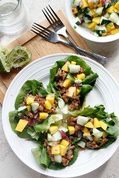 Hoisin Lime Pork Lettuce Wraps with a Cucumber Mango Salsa | FabtasticEats