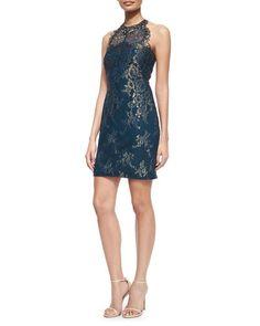 TA5GN Marchesa Notte Jewel-Neck Metallic Lace Racerback Cocktail Dress