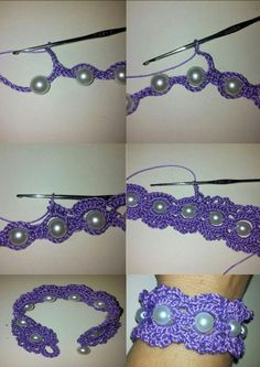 Crochet bracelet (a lace can also be used if u dont know crocheting) Crochet Diy, Love Crochet, Bead Crochet, Crochet Crafts, Crochet Flowers, Crochet Projects, Diy Crafts, Bracelet Crochet, Crochet Earrings