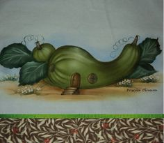 Pano de prato de sacaria branca com pintura de casinha de abobrinha  e acabamento feito com tecido tricoline duplo 100% algodão de 10 cm.