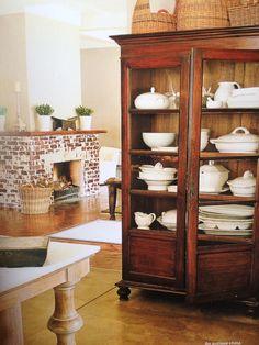 repurposed armoire for kitchen storage