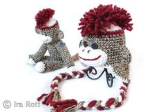 This listing is for 2 items:  Handmade crocheted sock monkey  Handmade crocheted blue sock monkey hat with Mohawk for kids.    This sock monkey hat with funky Mohawk has the most authentic sock monkey look and super cute smile.  Crocheted with cotton and acrylic yarn.    This listing is for custom order, please specify needed size when ordering.  ***Buttons will be different then pictured    This set make's a lovely baby shower gift, delivery gift or amazing photo props.  $ 80.00 CAD