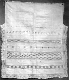 Embroideries on upcoming apron. FolkCostume&Embroidery: Rekko costumes of the Karelian Isthmus and Ingria Folk Costume, Costumes, Russian Embroidery, Linen Apron, Lace Insert, Bobbin Lace, Aprons, Finland, Art