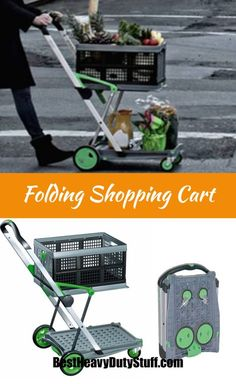 Heavy Duty Folding Shopping Cart with Front Swivel Wheels - this cart turns into a trolley too! Folding Shopping Cart, Folding Cart, Trolley Dolly, Trolley Bags, Shoping Cart, Backyard Movie Nights, Plastic Design, Storage Cart, Home Gadgets