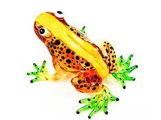 1 X Lampwork COLLECTIBLE MINIATURE HAND BLOWN Art GLASS New Frog, Orange FIGURINE