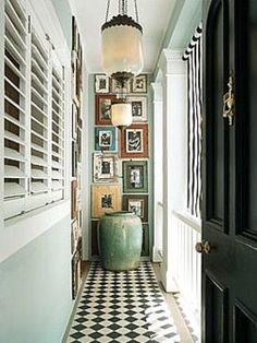 tiled floors + white shutters +hallway photos display + wall color= ❤❤❤