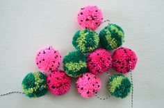 Pom Pom Garland - The Watermelon: Pink and Green - Summer, Party, Photo Backdrop, Home Decor Summertime Poms got it going on. Pom Pom Crafts, Yarn Crafts, Diy Crafts, Crafts To Make And Sell, Crafts For Kids, Arts And Crafts, Pom Pom Garland, Tulle Poms, Tassel Garland