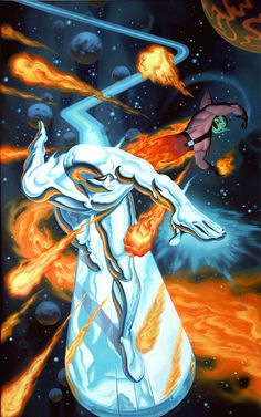 The Silver Surfer vs Super Skrull by Steve Rude. Not really a fight in my opinion. Silver Surfer is way out of the Super Skrulls league. Marvel Comic Universe, Marvel Comics Art, Marvel Comic Books, Comics Universe, Comic Book Characters, Comic Book Heroes, Marvel Heroes, Marvel Characters, Comic Books Art